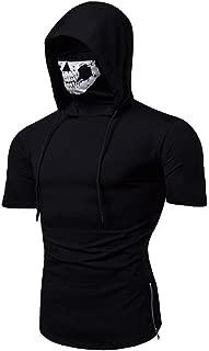 Realdo Mens Hoodie, Mens Skull Mask Pullover Casual Solid Zip Long Sleeve Hooded Sweatshirt Tops