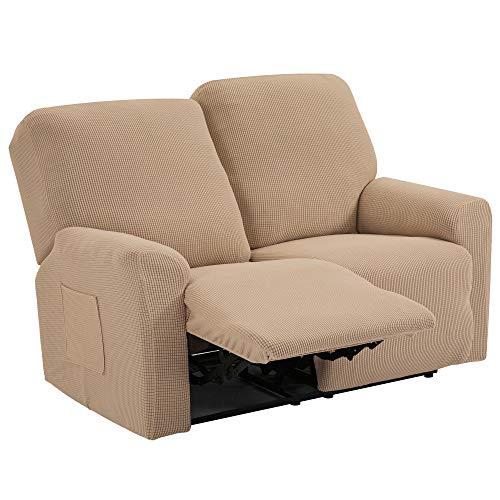 TIANSHU 6 Pezzi Fodera per Poltrona reclinabile per 2 posti, Fodera per Poltrona reclinabile Jacquard per 2 Cuscini, Fodera per Divano reclinabile Elasticizzata (Poltrona reclinabile, Sabbia)