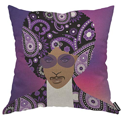 AOYEGO Prince Singer Musical Artist Throw Pillow Cover Cartoon Hippie Pop Rock Roll Mustache Purple Pillow Case 18x18 Inch Decorative Men Women Boy Girl Room Cushion Cover for Home Couch Bed