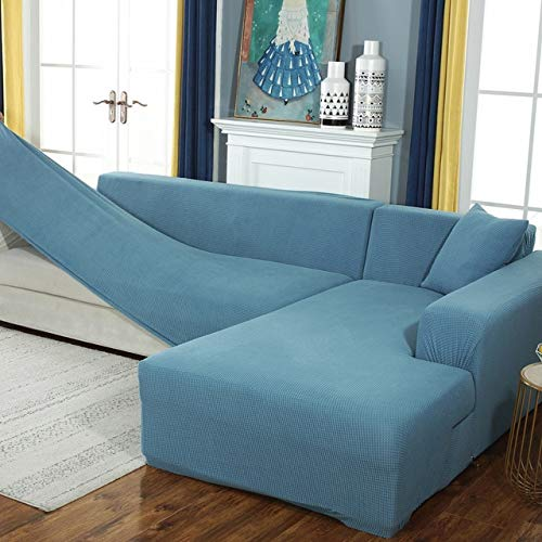 Funda de sofá elástica de Felpa Fabirc, Fundas de sofá en Forma de L sólidas, Fundas de Terciopelo para Sala de Estar, Funda de sofá elástica A2, 1 Plaza