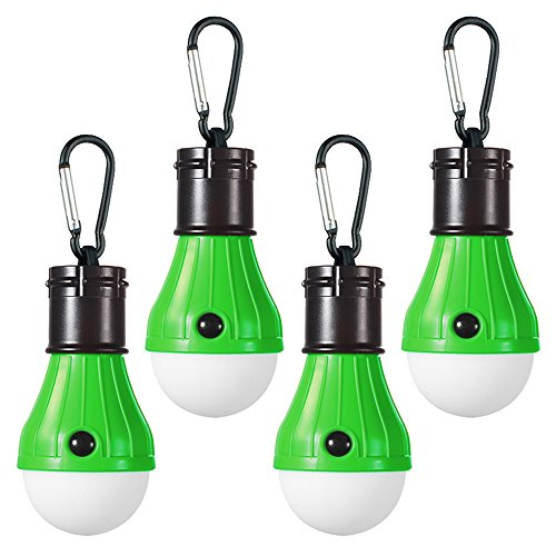 Doukey LED Camping Lights [4 Pack] Portable LED Tent Lanterns 4 Modes for Backpacking Camping Hiking Fishing Emergency Light Battery Powered Lamp for Outdoor and Indoor (Green)