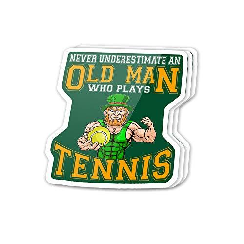3 Stück/Pack, 3 x 4 inch Patrick's Day Irish, Never Underpulate an Old Man Who Plays Tennis Sticker für Water Bottless, Laptop, Phone, Teacher, Hydro Flasks, Car