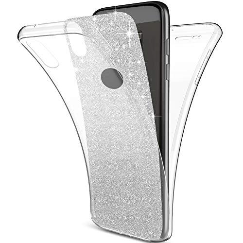 Kompatibel mit iPhone Xs Max Hülle Schutzhülle,Full-Body 360 Grad Bling Glänzend Glitzer Klar Durchsichtige TPU Silikon Hülle Handyhülle Tasche Front Cover Schutzhülle für iPhone Xs Max,Silber