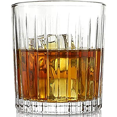 ELIDOMC Vertical Stripe Old Fashioned Whiskey Glasses with Luxurious Box, Cocktail Glasses For Drinking Bourbon Scotch Cocktail Irish Whisky - Set of 4