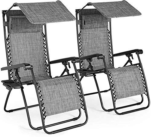 ZHENG Tumbonas Sol Mecedora Patio Exterior de jardín Tumbonas con sillas de Sombra y Titular de Bebidas