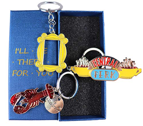 Friends TV Show Key Chains (set of 3) Badge Souvenir Set Pendant (Central Perk Coffee Time Picture, Yellow Picture Frame, Lobster. (Blue Box)