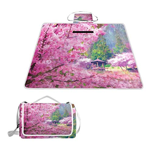 XINGAKA Picknickdecke,Landschaft mit Sakura Flower Distant Mountain Japanischer Pavillon Wald,Outdoor Stranddecke wasserdichte sanddichte tolle Picknick Matte