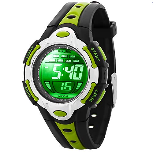 AIKURIO Niños Reloj Digital 50 M Impermeable con Correa de Silicona 8 Colores Luces LED para Deportes al Aire Libre AKR006