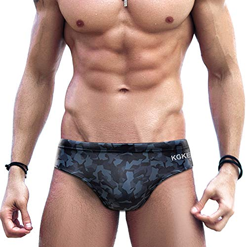 KGKE Mens Sexy Swim Briefs Camo Pattern Bikini Swimsuit for Men
