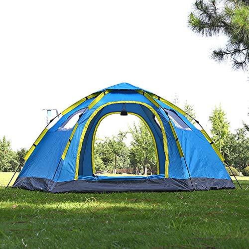 Qazwsxedc 6-8 Person Automatic Big Camping Tent with 2 Door 4 Window Anti-UV Yurt Tent,Blue