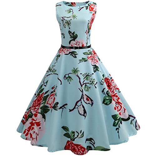 TWIFER Damen Floral Elegant Ärmelloses Vintage Tee Ballkleid Party Kleid