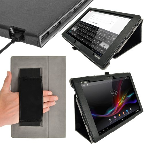 iGadgitz U2431 Nero Ecopelle Custodia Cover Compatibile con Sony Xperia Z 10.1' Tablet con Supporto Multi-Angle + Auto Sleep Wake + Pellicola