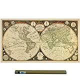 Dekali Designs Captain Cook 1799 Vintage World Map Poster (24 x 42 Inches) - Canvas Fabric Print Map of the World - Old World Map and Antique Wall Art Decor