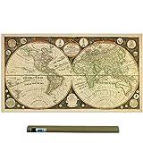 Dekali Designs Póster Vintage del Mapa del Mundo de Capitán Cook 1799 (61 x 107 cm) – Ligera Lienzo / Tela Arte de Pared / Old Decor / Mapas Antiguos / Colgar en la Pared