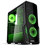 EMPIRE GAMING - Boitier PC Gamer WareFare Noir - 3 Ventilateurs LED Vert 120 mm -...