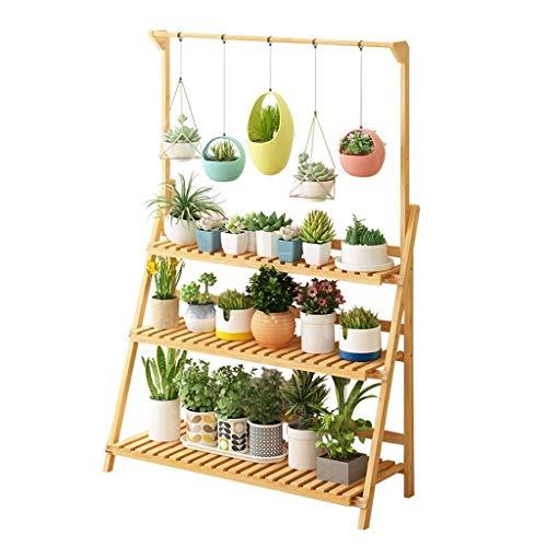 LBBGM Étagère à Plantes à 3 Niveaux, Support Suspendu pour Plantes en Bambou, présentoir, Organisateur de Pot de Fleur, étagère de Rangement Pliante (Taille: 50 cm)