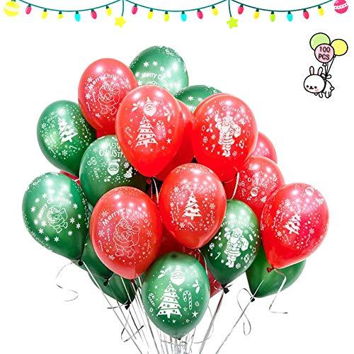 Navidad Fiesta Globos, 100 Piezas Globo Verde Rojo navideños,Navidad Globos Helio látex,Usado para Fiesta,Cumpleaños,Año Nuevo Fiesta, Navidad Decoración