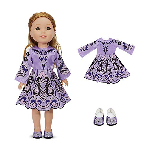 14 Inch Doll Clothes - Embroidered Lavender Dress with Matching Doll Shoes Fits American Girl Wellie Wishers, Glitter Girl, Hearts for Hearts Girls and Similar Size Dolls.