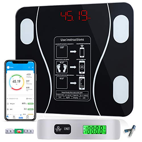 Smart Bluetooth Bmi Body Fat Scale,Large Size Smart Digital Scale,Bath Room Weight Scale,with Smart Phone APP Health Monitor,Luggage Scale Gift