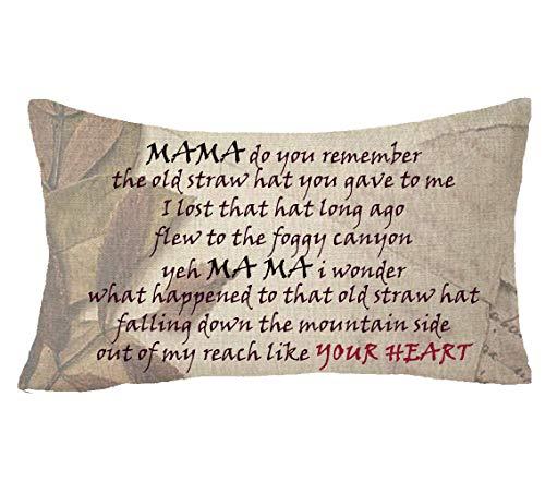 Kysd43Mill Housse de coussin décorative rectangulaire pour la fête des mères Inscription « Ma Do You Remember The Hat You Give Me »