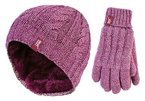 HEAT HOLDERS - Damen winter warm fleece beanie mütze und handschuhe set (Small/Medium, Rose)