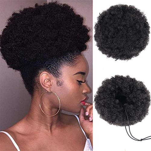 CLOTHOBEAUTY 1Pcs Afro Puff Hair Bun, Hair Rope Elastic Band Updo Messy Extensions Wavy Curly Donut Chignon (7.8 in, Black)