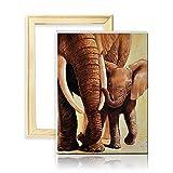 ufengke Kit Pintura de Diamantes 5D Dos Elefantes Punto de Cruz Diamante Completo DIY para Amantes del Arte, con Marco de Madera, Diseño 25x35cm