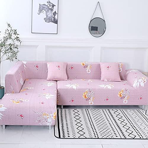 WXQY Funda de sofá Funda de sofá Impresa Sala de Estar Esquina para Mascotas Funda de sofá Chaise Longue en Forma de L Funda de sofá elástica Funda de sofá A17 3 plazas
