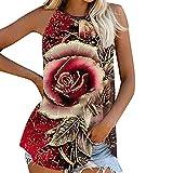 Camiseta de tirantes para mujer, sexy, de verano, blusa, casual, de cuello redondo y estampado de flores, para mujer, verano, crop, tank Tops básicos, moda amplia, rojo, S