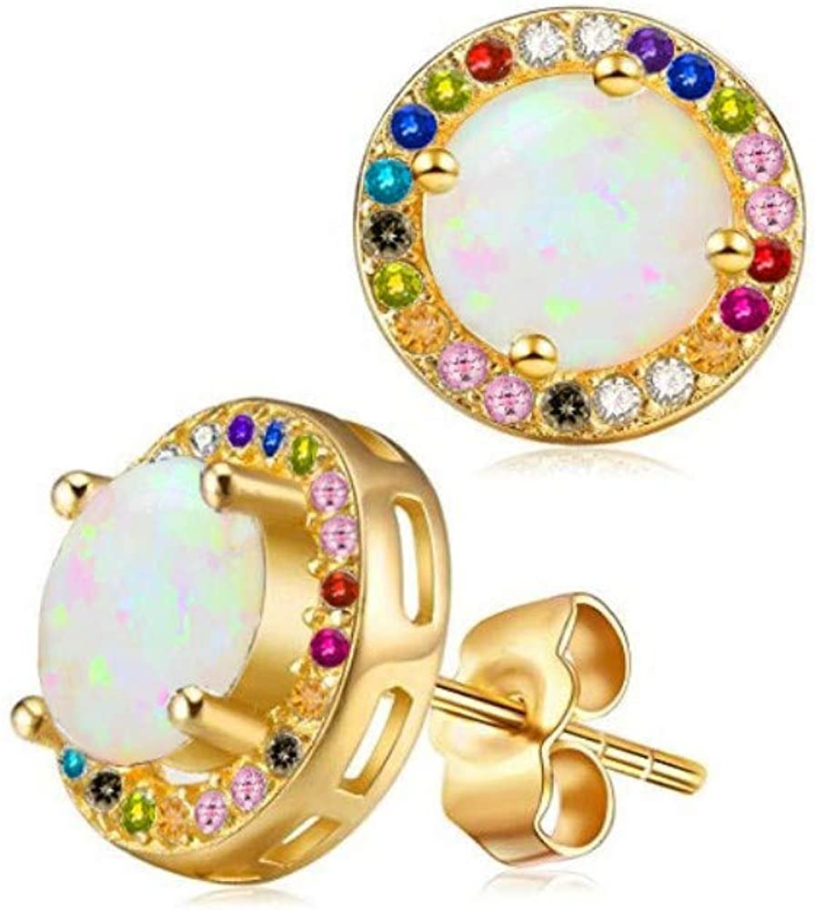 Verona Jewelers 送料無料 Women 10K Gold Created 内祝い Earrings Stud with Opal C