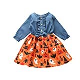 Halloween Toddle Infant Baby Girl Clothes Ruffle Romper Top Suspender Pumpkin Bat Ghost Skirt Outfit Set with Headband (N-Blue, 12-18 Months)