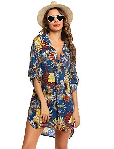 Unibelle Strandkleid Damen Bikini Cover Up Tunika Bluse Lang Strandkleid Damen Shirt Strandponcho Sommer Cuffed Sleeve Shirts Tops