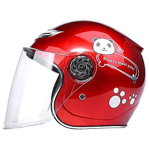 RJHY Cascos para niños, Cascos para Motocicletas, Cascos para niños para niños y niñas, Cascos de Bicicleta y Scooter, adecuados para 3-8 años,Rojo