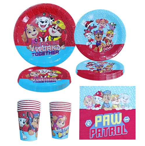 Party Tableware Set,106PCS Paw Patrol Party Supplies Party Tableware,Banners,Tablecloth,Plates,Mugs,Napkins,Straw,Spoon,Forks and Knives,Supply Pack Serves 10 Guests
