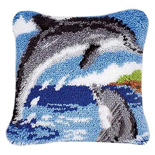 Gift2U Latch Hook Kit, Two Dolphin DIY Throw Pillow Cover Sofa Cushion Cover 16X16 inch Animal Pattern Paint Cross Stitch Squirrel