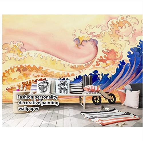 Meaosy Carta Da Parati Di Panno Di Seta Tridimensionale Di Alta Moda Carta Da Parati Dorata Di Stile Giapponese Delle Montagne E Delle Onde 3D Di Stile-150X120Cm