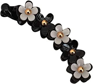 BinaryABC Acrylic Banana Hair Clips Ponytail Holder Hair Clip Hair Claw Flower Barrette for Women