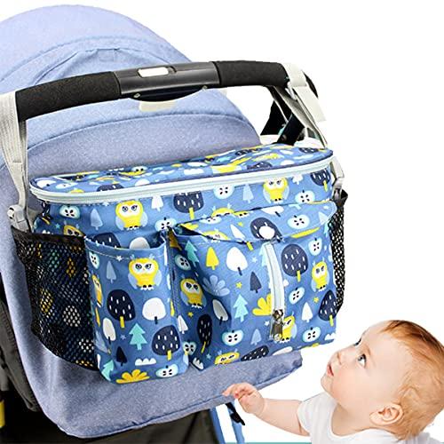 Timertick Bolsos para Carritos de Bebé, Bolso Carro Bebe con Portavasos y Correa Para El Hombro, Almacenamiento para Pañales (Azul)