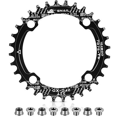 Chainring 104 BCD 32T 34T 36T 38T Narrow Wide Single Chain Ring with 4 Pieces Sprocket Bolts for Road Bikes, Mountain Bikes, BMX MTB Bike (Black, 32T)