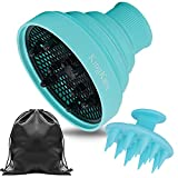 Collapsible Hair Dryer Diffuser Attachment - Silicone Blow Dryer Diffuser - Lightweight Portable with Travel Bag