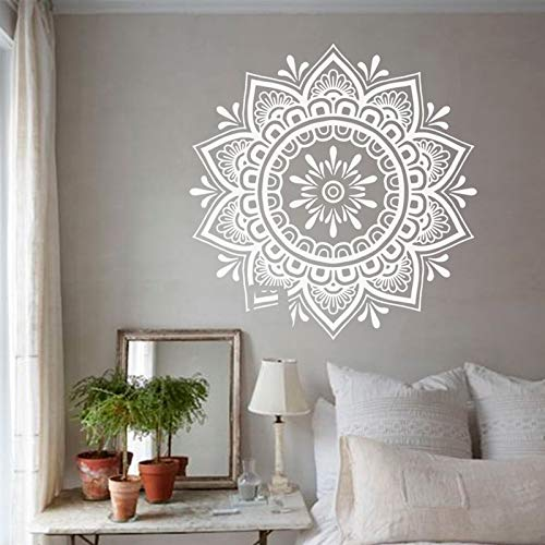 Etiqueta de la pared de Mandala, etiqueta engomada del arte de la yoga de Boho, etiqueta engomada de la mandala bohemia de la flor para el papel pintado del dormitorio de la sala de estar A12 57x57cm
