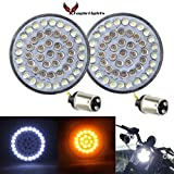 Eagle Lights 2 inch Harley Front LED Turn Signals with White Running Lights for Harley Davidson Motorcycles 1157 Bullet style turn signals