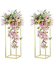 Nuptio 2 Stycken Guldvaser för Bröllopsbord, Metallblomma Golvvas Kolonnblommastativ, 80cm Lång Geometrisk Blommavas, Rektangulär Blomma Display Rack för Hemfest Bröllopsdekor