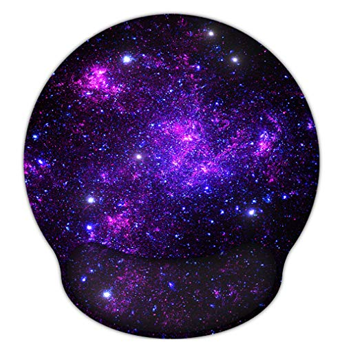 RICHEN Memory Foam Mouse Pad with Wrist Support,Ergonomic Mouse Pad with Wrist Rest,Non-Slip Rubber Base for Computer Laptop & Mac,Lightweight Rest for Home,Office & Travel (Purple Starry)