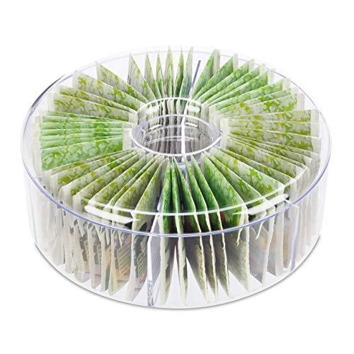 Relaxdays Estuche Redondo para tés, Seis Compartimentos, para 72 bolsitas, con Tapa, 7,5x20 cm, Transparente, Plástico