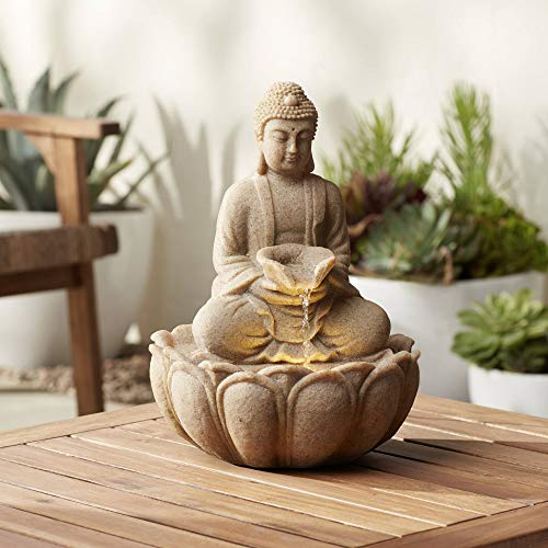 John Timberland Calm Buddha Zen Outdoor Water Fountain with Light LED 14' High Faux Sandstone Resin Meditation Decor for Garden Patio Yard Home Lawn Porch House Relaxation Exterior Balcony Roof