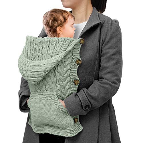 NCONCO Noworodek dziecko dzianinowa peleryna niemowlę na zewnątrz wiatroszczelny ciepły płaszcz z kapturem dla dziecka 0-1Y