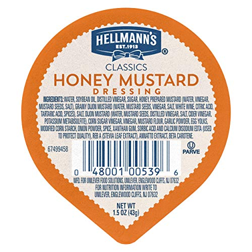 Hellmann's Classics Honey Mustard Dressing Dip Cups Gluten Free, No Artificial Flavors or High Fructose Corn Syrup, Colors from Natural Sources, 1.5 oz, Pack of 108