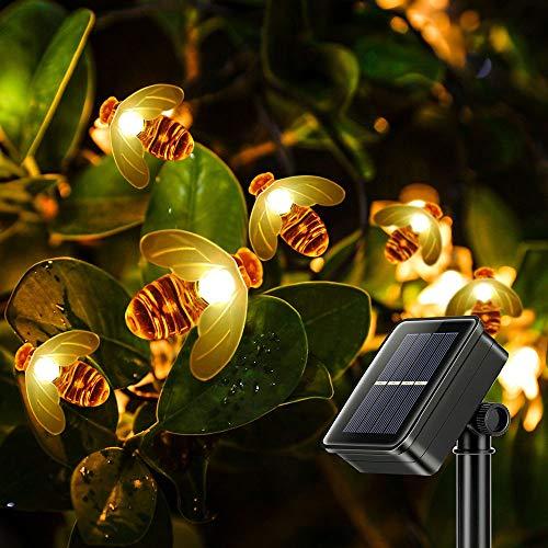 innislink Luci Stringa solare, Ape Catena Luminosa Solari esterna 30 LED Luci Stringa fatate Bee Luce Decorative Impermeabile 6.5m per esterno matrimonio paesaggio giardino patio festa - Bianco caldo