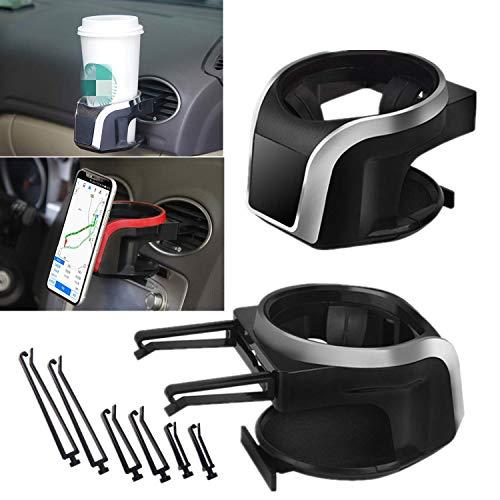 Mioke Getränkehalter Auto 2 in 1 Flaschenhalter Kaffee Handy Halterung Lüftung Multifunktion Auto Lüftungshalterung Handyhalterung (Silber2)